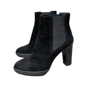 Tod's Chunky Heel Suede Oxford Booties 7 Black